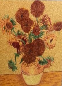 刺繡畫  作品: 向日葵 作品原創人: 梵谷